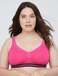Powerful Pink No-Wire Cotton Bra with Lace