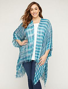 Teal Striped Kimono with Sparkle