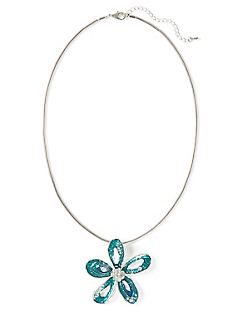 Aqua Falls Flower Necklace