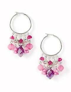 Violet Orchid Hoop Earrings
