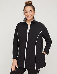 Striped-Neck Yoga Jacket with Side Piping