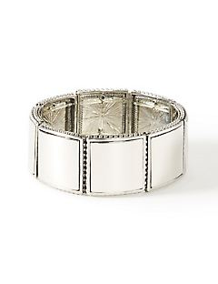 Silver Square Stretch Bracelet