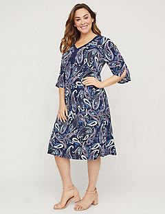 Cold-Shoulder Paisley A-Line Dress with Lace