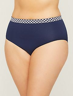 Seamless Full Brief Panty With Gingham Waistband