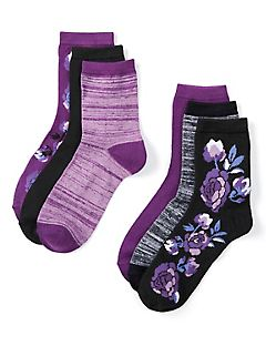 Floral & Spacedye Crew Socks 6-Pack