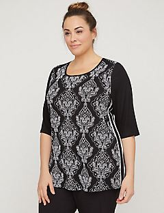 Textured Paisley Top With Side Piping
