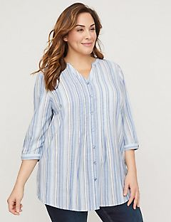 Striped & Pintucked Button-Front Top