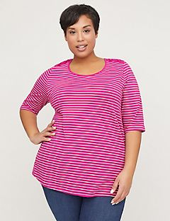 Striped Crisscross Shoulders Suprema Top