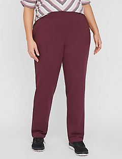 French Terry Colored Straight Leg Knit Pant