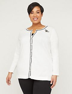 Embroidered Bee Buttonfront Cardigan