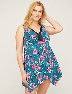 b88be17b4c365 Shop Swim at Catherines Plus Sizes. Hibiscus Swimdress with Handkerchief Hem