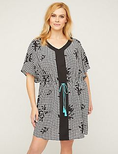 Checked Floral Cover-Up