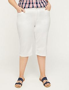 Sateen Stretch Capri with Comfort Waist