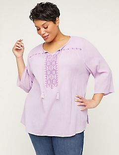 8837e2ef3bc Plus Size Shirts. Embroidered Gauze Peasant Top