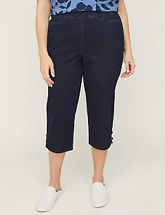 Essential Flat Front Denim Capri