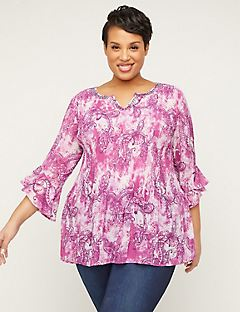 Amethyst Paisley Pleated Top