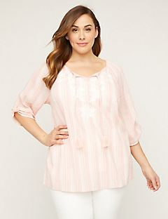 0ddfc863622 Shimmer Gauze Peasant Top with Embroidery