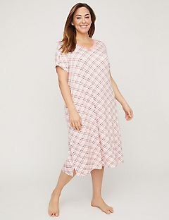 Plaid Sleep Gown With Lace Trim
