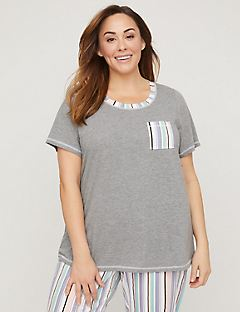 Striped Cotton Sleep Tee with Pocket