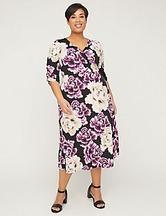 Mauve Springs Faux-Wrap Fit & Flare Dress