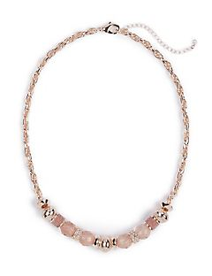 Blush Beaded Chain Necklace