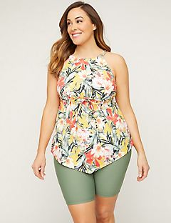 ba3a614ac682d Shop Swimwear at Catherines Plus Sizes. Plumeria High-Neck Tankini Top
