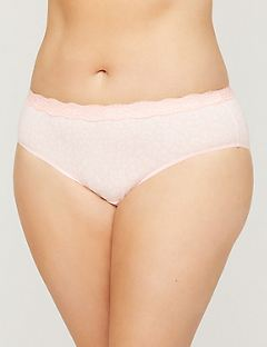 NEW! Printed Cotton Hipster Panty With Lace