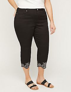 Embroidered Twill Capri