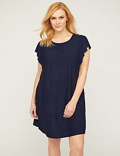 Clip-Dot Sleepshirt With Flutter Sleeves