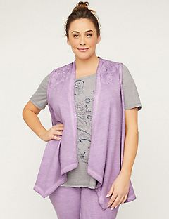 Draped Tunic Vest with Crochet Applique