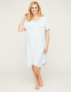 Cutout Striped Sleepshirt With Lace