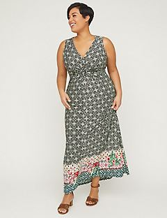 Floral Tile Twist-Knot Maxi Dress