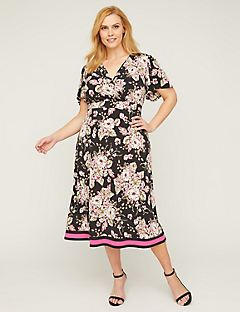 Rose Veranda Faux-Wrap Fit & Flare Dress
