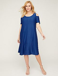 Cold-Shoulder Eyelet A-Line Dress