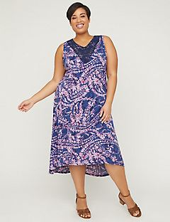 Paisley Fit & Flare Dress With Soutache