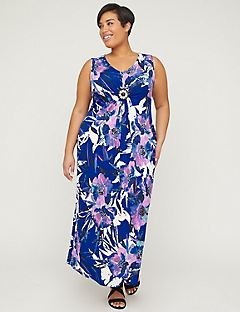 Watercolor Petals Maxi Dress