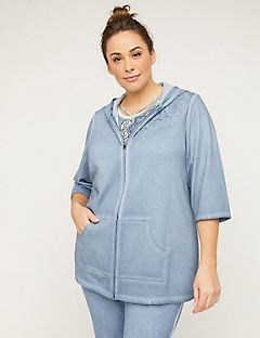 Comfort Tunic Hoodie with Crochet Applique