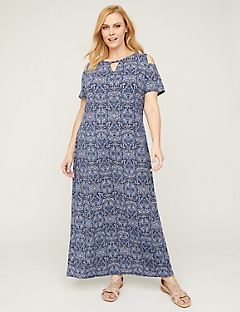 Blue Tile Cold-Shoulder Maxi Dress