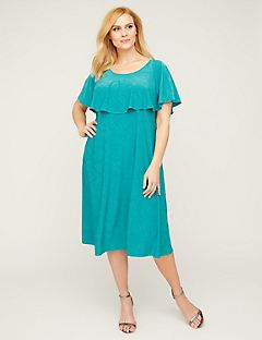 Teal Cape A-Line Dress