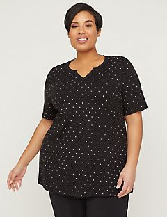 Dotted Suprema Top With Embroidered Trim