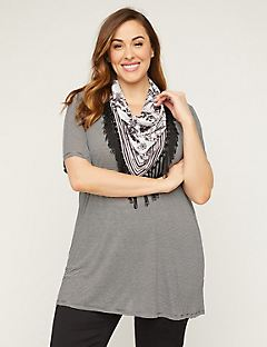 Draped Scarf Duet Top
