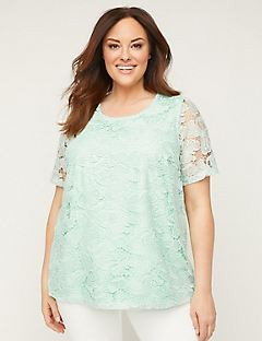 Butterfly Embroidered Lace Top