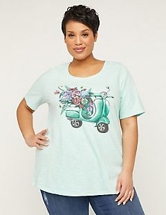 Floral Scooter Handpainted Art Tee