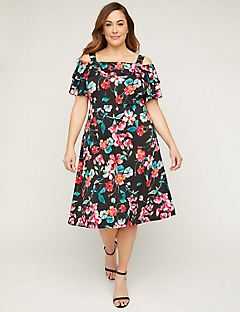 8ab4823099e1e Floral Cold-Shoulder Fit   Flare Dress