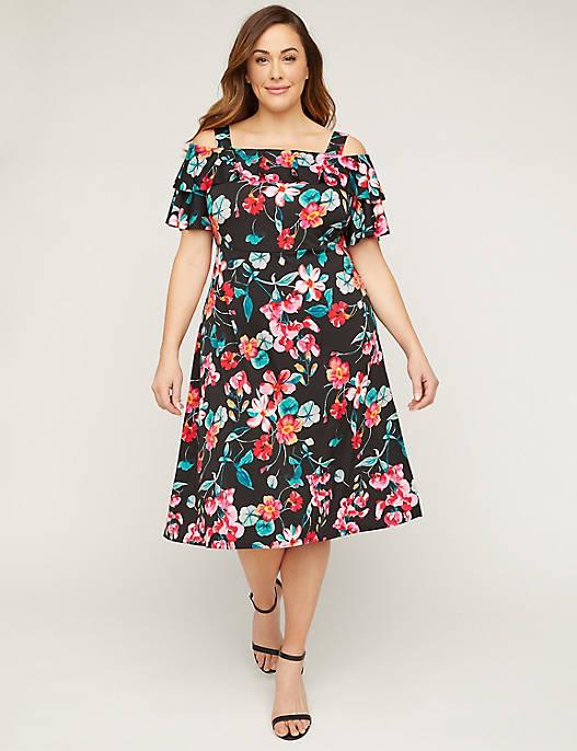 Floral Cold-Shoulder Fit & Flare Dress