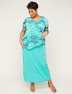 Teal Leaf Duet Maxi Dress