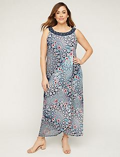 Floral Medallion Maxi Dress with Embroidery