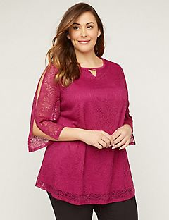 AnyWear Floral Lace Tunic Top