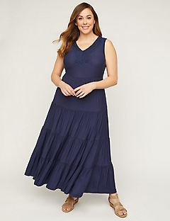 3bca6845832 Tiered Maxi Dress with Embroidery