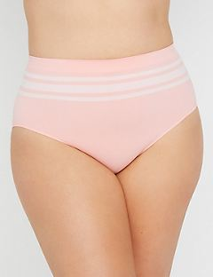 Seamless Hi-Cut Brief with Colored Stripes
